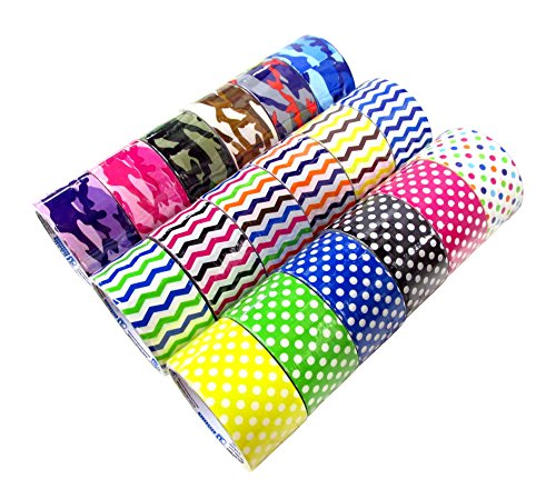 18-roll-variety-pack-decorative-duct-style-tape-polka-dot-chevron-and-colorful-camouflage