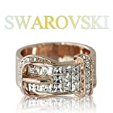 【SWAROVSKI 】 クリスタライズ スワロフスキー ベルト リング ピンクゴールドカラー カジュアル ゴージャス 指輪
