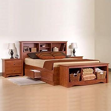 Monterey Cherry Full/ Double Wood Platform Storage Bed 3 Piece Bedroom Set