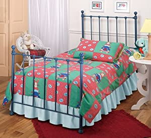 Hillsdale Furniture 1088BTWR Molly Bed Set with Rails, Twin, Blue
