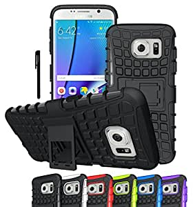 Galaxy S7 Edge Case, OEAGO Samsung Galaxy S7 Edge Cover Accessories - Tough Rugged Dual Layer Protective Case with Kickstand for Samsung Galaxy S7 Edge - Black