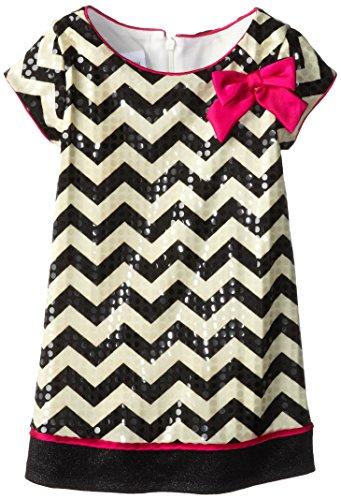 Bonnie Jean Little Girls' Chevron Spangle Aline Dress, Black/White, 4T