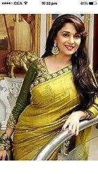 Shree fashion women's Top Fabrics semi stitched yellow BHAGALPURI saree