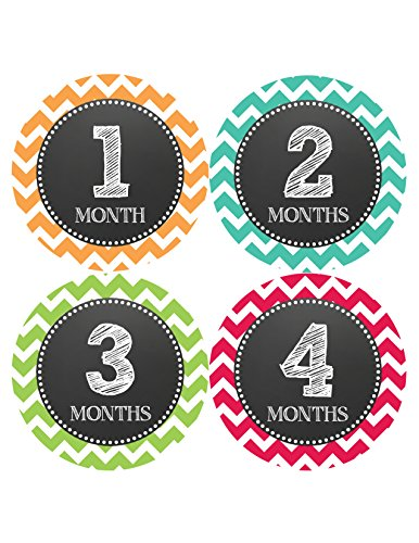 Months in Motion 068 Monthly Baby Stickers Baby Boy or Girl Month 1-12 Chevron