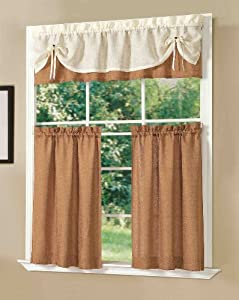 Dainty Home Sunrise Kitchen Curtain Set, Brick