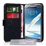 Yousave Accessories �tui-portefeuille en cuir pour Samsung Galaxy Note 2 Noir