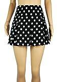 New Womens Black White Pleated Mini Skirt Polka Dot UK Size 10 12 14