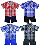 Boy's Short Sleeve Check Shirt & Shorts Summer Set sizes from 2 to 6 Years