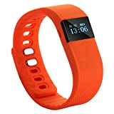 Tera TW64 Bluetooth Health Smart OLED Bracelet Wristband Watch Pedometer Cell Phone Mate Orange with Sleep Monitoring Calorie Calculation Distance Measurement Call Reminder