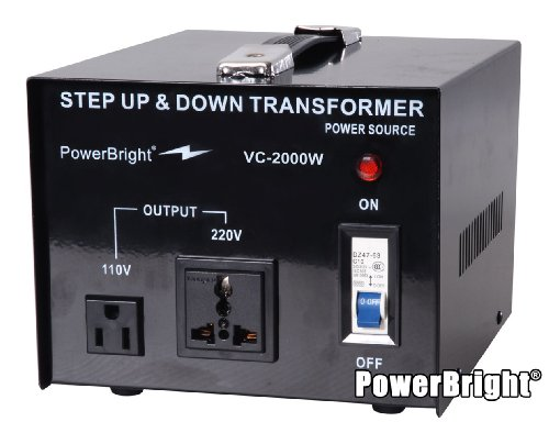 Power Bright VC2000W Voltage Transformer 2000 Watt Step Up/Down converter  110/120 Volt - 220/240 Volt