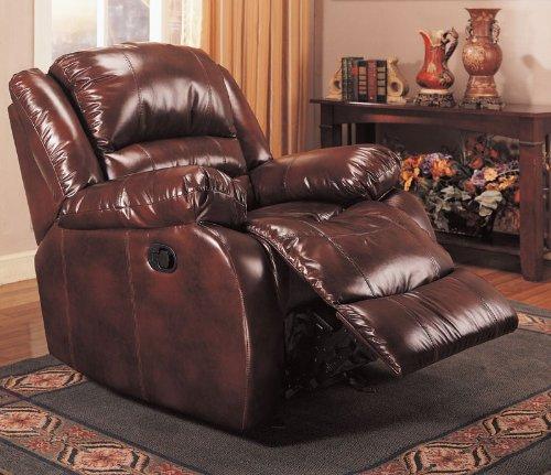 Best Deals Furniture: Best Deals Rocker Recliner In Brown Bycast Leather By