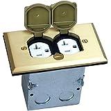TOPGREENER 705507 Floor Box w/ 20A Tamper-Weather Resistant Duplex Receptacle, Brass