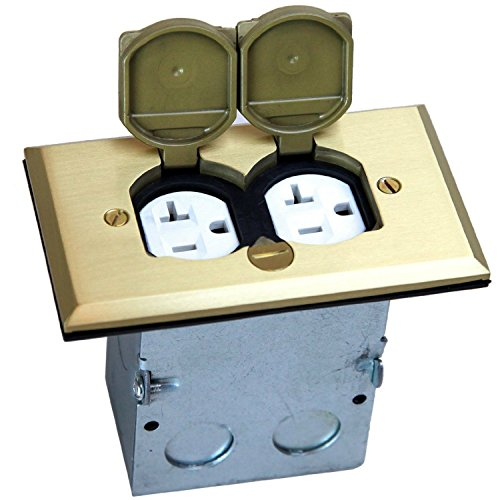 TOPGREENER 705507 Electrical Outlet Regtancular Floor Box Kit, 1-Gang, Brass Cover Face, Dual Receptacle, 20A Tamper Weather Resistant, Flip Lid