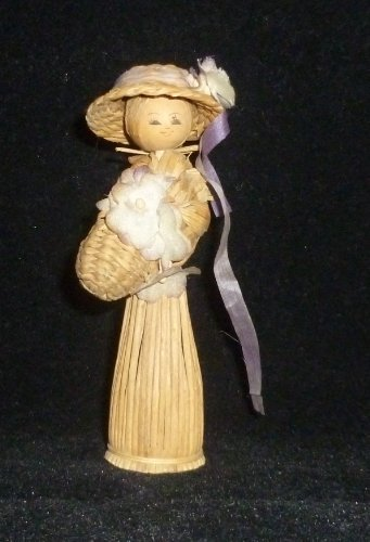 Miniature Wicker Doll Figurine - 1