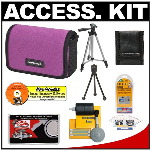 Olympus Water-Resistant Sport Neoprene Case (Plum) + Tripod + Accessory Kit for FE-5010, FE-5040, FE-5050, Stylus 5010, 7010, 7030, 7040, 9010, TOUGH 8010, 6020, 3000 Digital Cameras