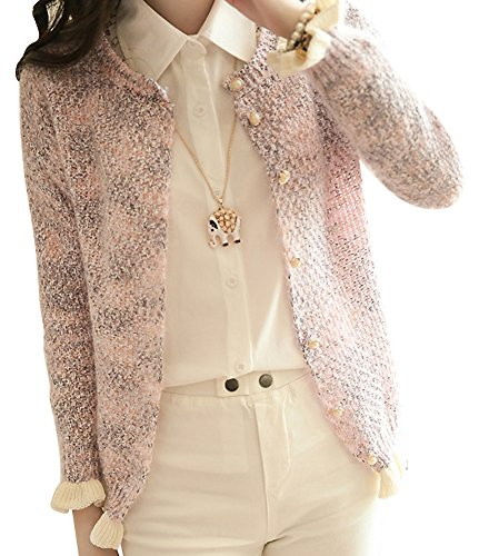 Molly Donne Preppy Style Dolce Petite Cardigan Maglione Free Size Pink
