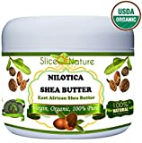 Organic Shea Butter Pure - Rare Nilotica East African Shea Butter Raw Unrefined By Slice Of Nature - Soft Silky Shea Butter for Hair Body Face 8 ounces