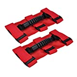 Grab Handles for Jeep Wrangler Roll Bars (2 Pack), Easy-to-Fit 3 Straps Design for 1987-2018 Models, Wrangler Accessories (RED)