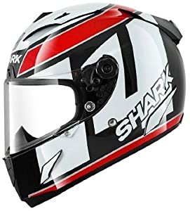 Shark Race- R Pro De Puniet Replica Motorcycle Helmet - Black/White/Red (Medium)