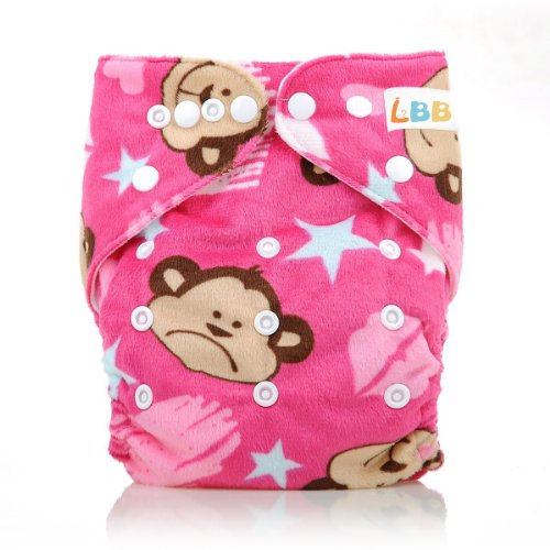 Cloth Baby Diapers Reusable Washable Breathable Adjustable Cover, Monkey Printed