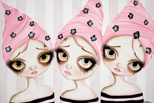 Un Deux Trois By Dottie Gleason Sad Pink Hair Triplets Canvas Giclee Art Print