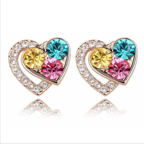 Rolicia Austrian Crystal Made with Swarovski Elements Earrings Lovely Peach Heat For Women