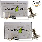 Mason Jar Soap Dispensers & Chalkboard Tags by Country Pear: Stainless Steel Chrome & Rust Proof Coating (2-Pack No Jars)
