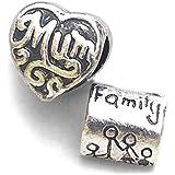 Abalorios. Plata mam‡ plateado y Familia del grano del encanto para caber Pandora y otras pulseras de 3mm europeos