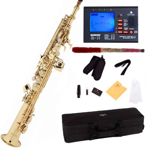mendini by cecilio mss l 92d gold lacquer straight b flat soprano saxophone with tuner case. Black Bedroom Furniture Sets. Home Design Ideas