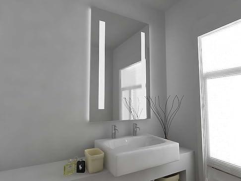 Specchio da bagno design moderno illuminato con sensori, panno antumido e posta per rasoio C8302V Vetro trasparente 920 x600mm