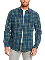 Timberland Camisa Hombre Tfo Ls Btsnrv Large Picante Yd (Azul / Beige)