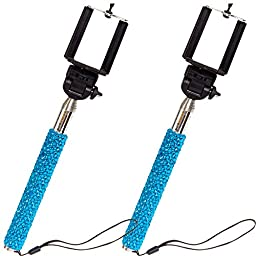 Crystallized Extendable Selfie Stick 2 Pack (Blue)
