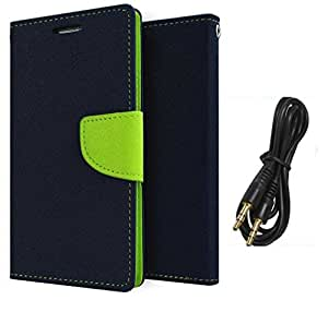 Acase Luxury Mercury Diary Wallet Style Flip Cover Case for Samsung Galaxy CORE 2 G355 -Blue With Aux Cable