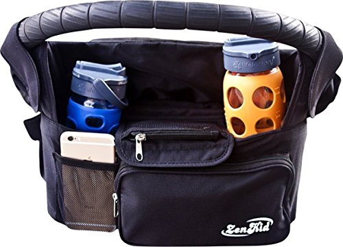 Premium Stroller Organizer & Hanlde Bag With Insulated Cup Holders - Best Baby Stroller Accessory - Ideal Baby Shower Gift & Must Have Gift For Moms & Dads With Little Ones