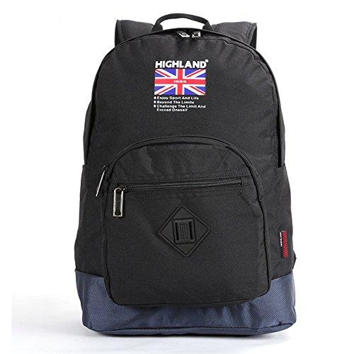 HighLand Black & Blue Color Canvas Durable Travel Backpack Bag for Laptops