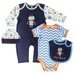 Hudson Baby Baby-Boys 4 Piece Clothing Set, Robot, 3-6 Months