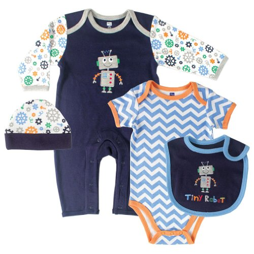 Hudson Baby Baby-Boys 4 Piece Clothing Set, Robot, 3-6 Months (Infant Robot Clothes compare prices)