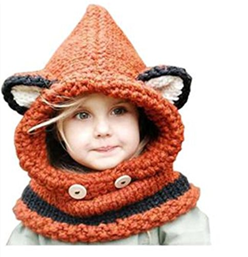 [Winter Wool Knitted Earflap Hat Scarf Hood Scarves Baby Girls Cowl Beanie Caps (Orange)] (Fox Hat Costume)