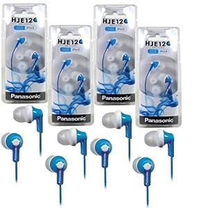 Panasonic RP-HJE120 ErgoFit In-Ear Headphones Stereo Earbuds (4-Pack, Blue)