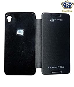 Royal Rusi - Black Flip cover , Stylus Pen , Screenguard For Micromax A104 Canvas Fire 2
