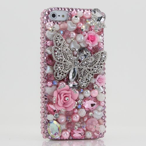 Best Price 3D Swarovski Crystal Pink Butterfly Bling Case Cover for iphone 5 AT&T Verizon and Sprint