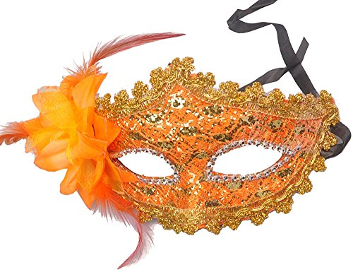 Orange Lace with Rhinestone Liles Venetian Mask Masquerade Halloween Costume from Y2B