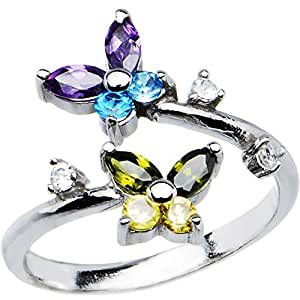 925 Sterling Silver Dazzling Butterfly Toe Ring