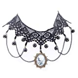 Yazilind jewelry Collar Necklace Lolita Goth Black Lace Choker Velvet Necklace Victorian Cameo Beads Tassels Length: 14in