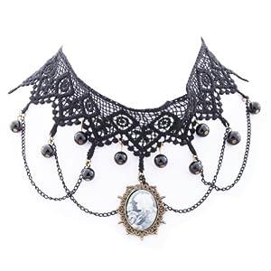 Yazilind Lolita Goth Black Lace Choker Velvet Necklace Victorian Cameo Beads Tassels