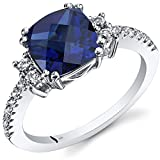 14K-White-Gold-Created-Sapphire-Ring-Cushion-Checkerboard-Cut-300-Carats-Sizes-5-to-9