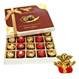 Chocholik Luxury Chocolates - 20pc Unique Combination Of Wrapped Chocolate Box With Small Ganesha Idol - Diwali...