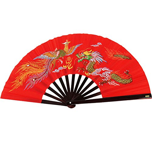 Bamboo Kung Fu Fighting Fan Dragon And Phoenix (red) (Kung Fu Fighting Fan compare prices)
