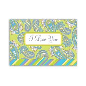 Jillson Roberts Gift Card Holders, I Love You, Paisley, 6-Count (GCP006)