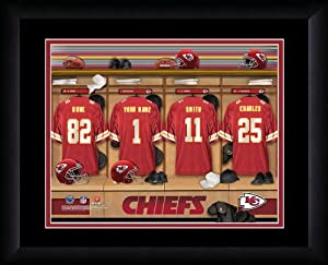 NFL Personalized Locker Room Print Black Frame Customized Kansas City Chiefs by You